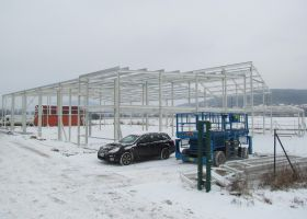 kontrukce montované skladové haly u Tišnova T-ARGO CZ s.r.o.